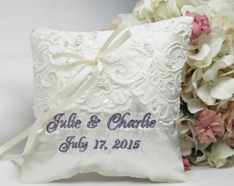 Ivory or White Satin and Lace Custom Ring Bearer Pillow, Lace Wedding Pillow, Satin Ring Pillow, Custom, Personalized, Ring Pillow