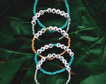 Favorite Things Bracelets - Stackable Bracelets - Los Angeles - Tan Lines - Road Trips - Palm Trees - Cats