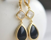 Black Onyx and Clear Crystal Dangle Earrings in Gold. Drop Earrings. Jewelry Gift. Modern. Gift for Her.