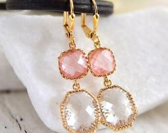 Pink Dangle Earrings in Gold. Gift. Bridesmaid Earrings. Drop Earrings. Dangle. Drop. Gift. Wedding. Bridal. Bridesmaids.
