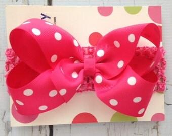 Hot Pink Polka Dot  Hair Bow with Headband - Infant Hair Bow and Headband - Polka Dot Pink Hair Bow
