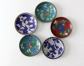 antique Chinese enamel plate collection, cloisonne dishes
