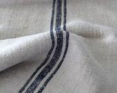 antique homespun grain sack, European farm textile