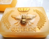 QUEEN BEE HONEY Soap, with Goats Milk and Honey Mixed or Goats Milk Highlight, Scented in Oatmeal Milk and Honey, Honey Bee Soap,