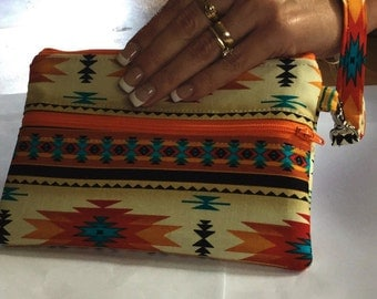 Iphone 6// Iphone 6 Plus Southwestern Navajo double zipper pouch wristlet-New Item