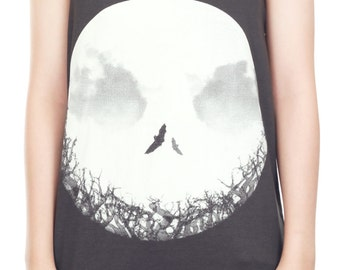 Bat Skull Shirt Skull Tank Top Human Skeleton Punk Rock Tank Women Shirt Tunic Top Vest Sleeveless Tank Top Size M,L,XL - IZJBT87