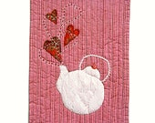 Red Kitchen Wall Decor, Textile Banner, Wall Hanging, Pink teapot with red hearts, high tea room decor, gifts for tea lovers