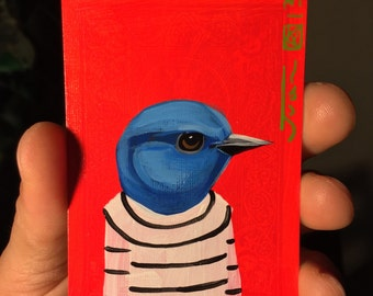 Mountain Bluebird portrait N4 on a playing cards. Original acrylic painting. 2012