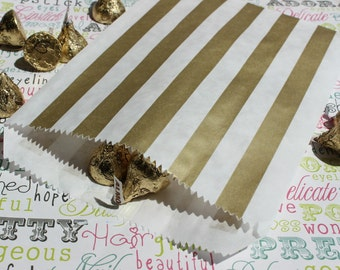 200 Gold Stripe Party Bags, Gold Wedding Candy Bags, Gold Metallic Favor Bags, Gift Bags, Popcorn Bags, Gold Candy Bags