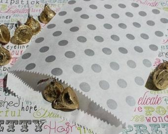 Silver Metallic Polka Dot Favor Bags, Candy Bags, Popcorn Bags, Wedding Favor Bags (100 count)