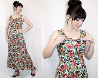 Vintage 40s style Floral DAY DRESS Tropical Summer Midi SUNDRESS