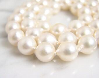 "Vintage 18"" Semi-Baroque Akoya Pearl Strand Necklace 18K White Gold Diamond Clasp"