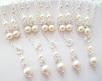 Ivory Bridesmaid Jewelry Set, Bridesmaid Jewelry Set of 5,Five Bridesmaids Jewelry,Bridesmaid Earrings And Necklace Set of 5,Two Piece Set
