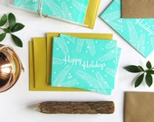 Happy Holidays on White Paper / Letterpress Printed Cards / Set of 6
