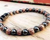 Solid Copper & Black Hematite Magnetic Therapy Anklet Super High Power Wellness Health FREE gift card