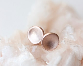 14k rose gold pebble stud earrings, small, simple, organic, gift for her, eco friendly, minimalist, modern, everyday, matte earrings
