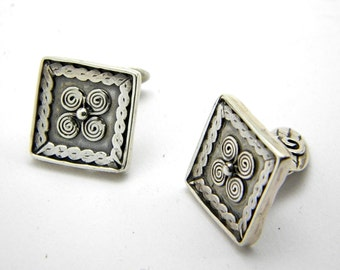 Sterling silver square cufflinks antique style spirals rustic jewelry for men