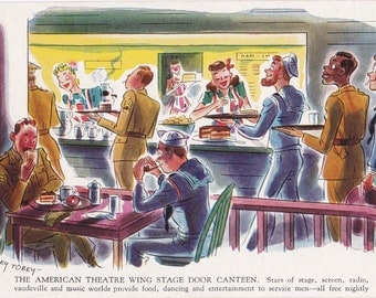 American Theatre Wing Stage Door Canteen- 1940s Vintage Postcard- Barney Tobey- WWII Art Comic- Soldiers and Sailors- Paper Ephemera- Used