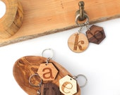 Custom Initial Keychains - Laser Engraved Geometric Modern Personalized Name Keychains