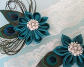 Peacock Wedding Garter Set, Teal Garters with Pearls, Ivory Lace Bridal Garters, Rustic- Country Bride, Something Blue