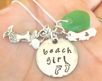 Beach Girl Necklace, Sea Glass Necklace, Personalized Hand Stamped Necklace, Beach Jewelry, Hawaiian Jewelry, California Necklace