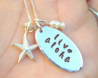 live aloha, Hawaiian Wedding, necklace, Hawaiian necklace, aloha necklace, gifts for her, Hawaiian, Mothers Day, personalized gifts