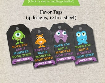 Monsters Favor Tags - chalkboard   Monsters Thank You Tags   Monsters Birthday Party   Little Monsters   Monster Bash   digital printable