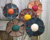 Primitive Plant Pokes Homespun Flowers - Spring/Summer Decor - Rustic Plaid Fabric Grungy Bouquet - Set of 5 - Country Home Decor