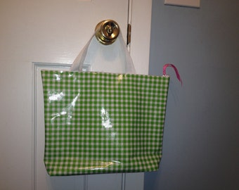 Large Oilcloth Waterproof Cosmetic Bag/ Makeup Bag/ Camp Bag/ Travel Bag/ Dorm Bag/ Wet Bag with Handles in Lime Green and Pink Gingham