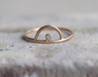 Diamond Sunrise Arc Ring Solid 14k Recycled Gold | Diamond Arc Ring