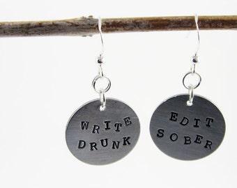 Writer Earrings (Write Drunk, Edit Sober)