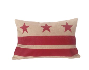 READY TO SHIP: Washington D.C. Flag Pillow Cover - Linen & Ruby Red
