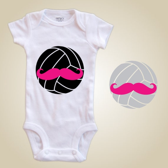 Volleyball baby one piece volleyball mustache
