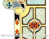 Zayin - Illuminated Hebrew Letter -  Judaica Jewish Art Bar or Bat Mitzvah Gift Signed Print by Adam Rhine