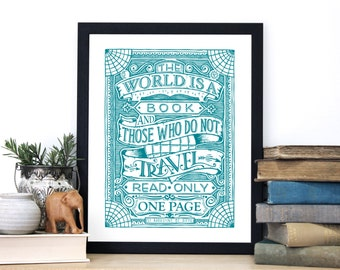 Travel Quote Print - Inspirational Screen Print - St Augustine Wall Art - Vintage Style Print - Typography by Chatty Nora - World Is A Book