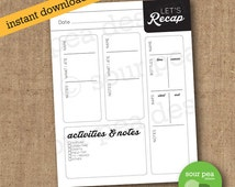 """INSTANT DOWNLOAD: """"Let's Recap"""" - nanny / babysitter / spouse / significant other printable daily information sheet"""