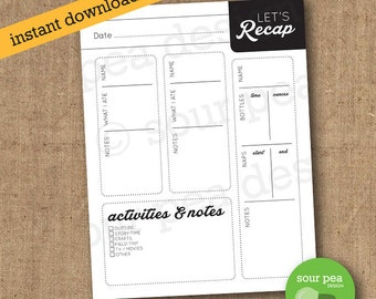 "INSTANT DOWNLOAD: ""Let's Recap"" - nanny / babysitter / spouse / significant other printable daily information sheet"
