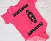 Pink Crayon Baby Bodysuit