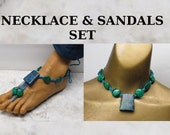 Bright blue hemp with green and blue stone beads choker necklace and barefoot sandal set! #HSET-001