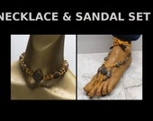 Bright Yellow hemp with brown marble stone beads choker necklace and barefoot sandal set! #HSET-004