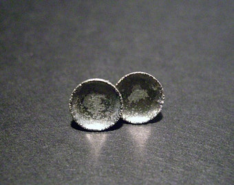 Rough silver stud earrings, simple silver stud earrings, rutilated artisan minimalistic, earrings, geometric studs, domed ear studs - Moon