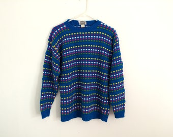 1980s rainbow striped HIPSTER oversized sweater