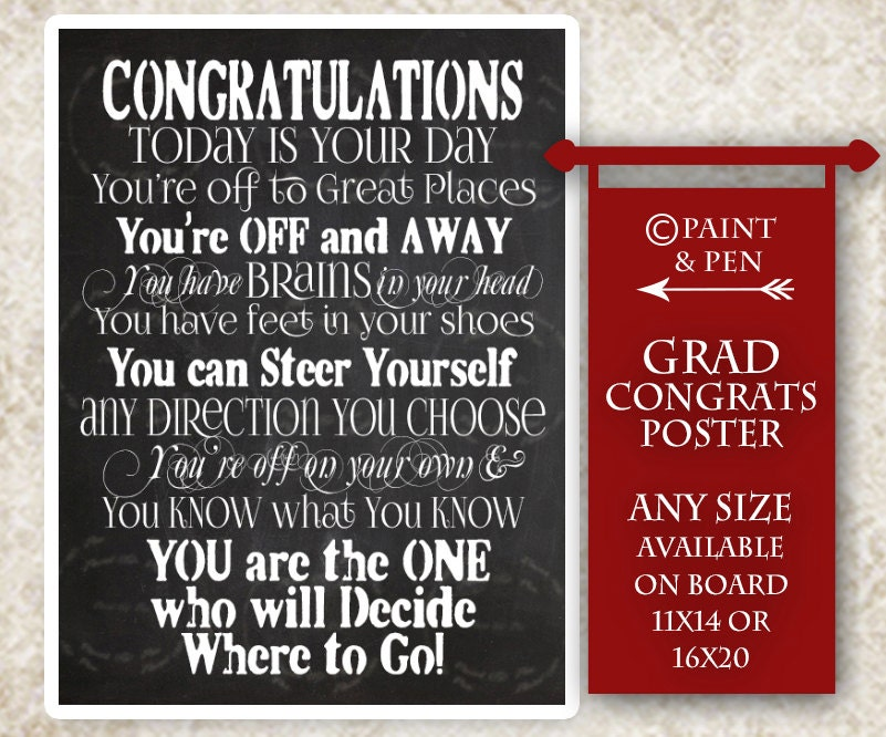 DIY Congratulations Grad Graduation Chalkboard Sign College