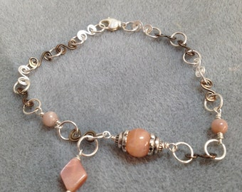 Peach moonstone and wire wrapped anklet