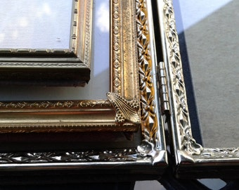 Vintage Metal Frames / Set of 3 / Metal Frames / Ornate Frames / Hollywood Chic / Mid Century