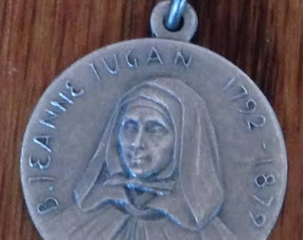 "Saint Jeanne Jugan Sister Mary of the Cross Vintage Religious Medal Pendant on 18"" sterling rolo chain"