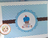 Happy Birthday Cupcake - Blue and Chocolate Brown Chevron - Invitations - Note Cards