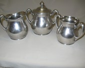 Hartford Silver Co Creamer Sugar Bowl Waste Bowl Monogram 1881-1893 Discontinue