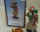 Bob Cratchit & Tiny Tim Figurine A Christmas Carol Hand Made Novelino Box 1993