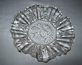 "Federal Glass Co. Pioneer Clear Round Crimped Bowl 7 1/4"" Discontinue 1940"